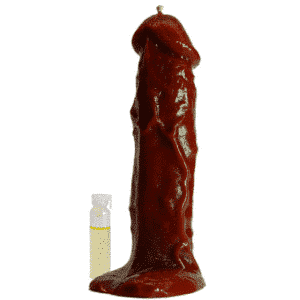 La CANDELA FALLO rossa figurata, in cera vergine con piante, dà più desiderio e forza nei rapporti sessuali, intensifica con maggiore passione gli incontri