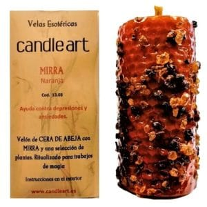 Beeswax candles with herbs